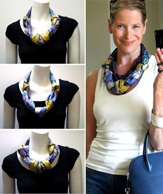 Short Knotted Scarf Necklace